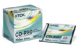 TDK CD-R 52x 80min CD lemez Slim tokban