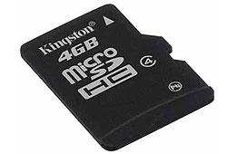 Kingston microSDHC kártya 4GB Class4 + SD adapter