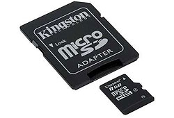 Kingston 8GB microSDHC memóriakártya + SD adapter, Class 4 (SDC4/8GB)